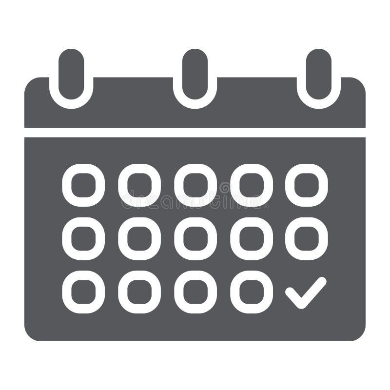 Kalendarzowa glif ikona, data i rozkład, przypomnienie znak, wektorowe grafika, bryła wzór na białym tle ilustracji