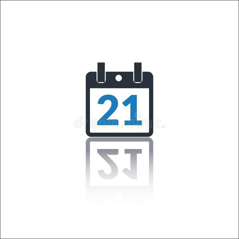 Kalendarzowa ikona, 21 listy daktylowa ikona ilustracja wektor