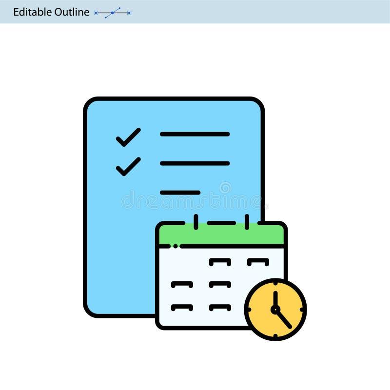 Kalendarzowa ikona, rozkład ikona, Biznesowy dokument, Planistyczna ikona, spotkanie, organizator, projekt agenda, Daktylowy, i  royalty ilustracja