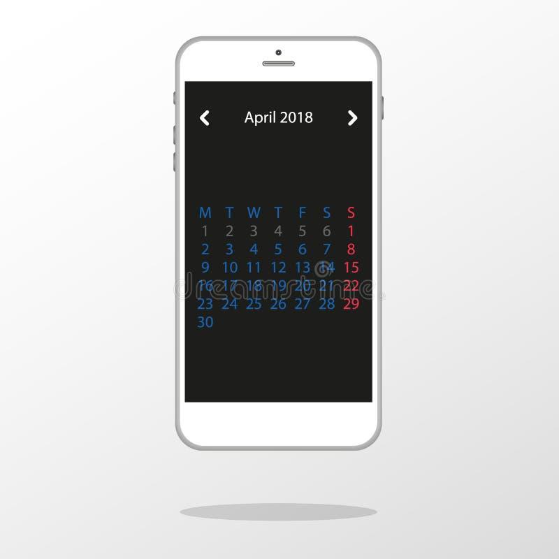 Kalendarzowa ikona, rozkład, planistyczny app na smartphone ekranie Ręka trzyma smartphone, palcowy dotyka ekran Nowożytny pojęci ilustracji