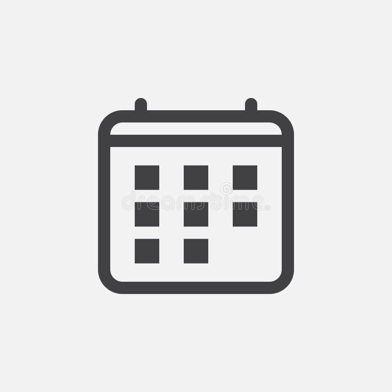 Kalendarzowa ikona, wektorowa logo ilustracja, piktogram odizolowywający na bielu ilustracja wektor