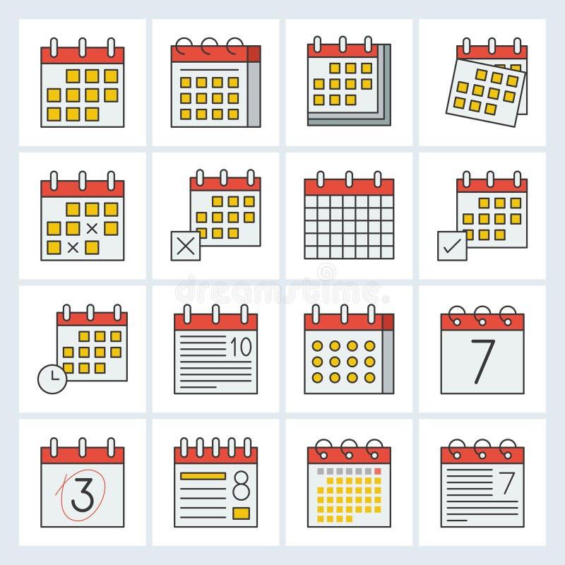 Kalendarzowa ikona, wypełniający konturu projekta editable uderzenie ilustracji