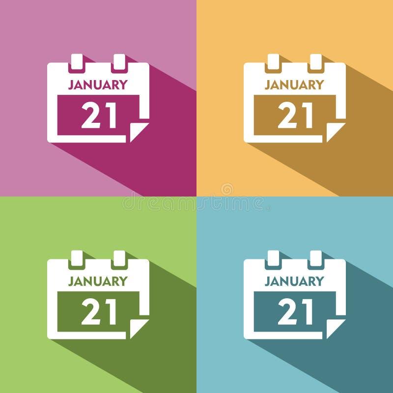 Kalendarzowa ikona z cieniem ilustracji