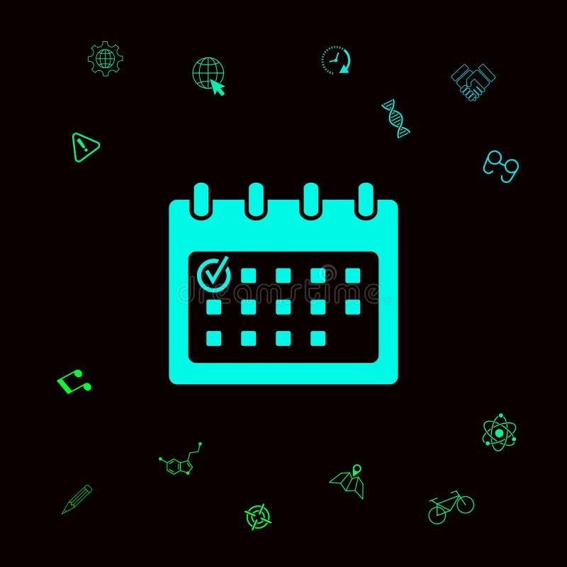 Kalendarzowa ikona z czek oceną ilustracja wektor
