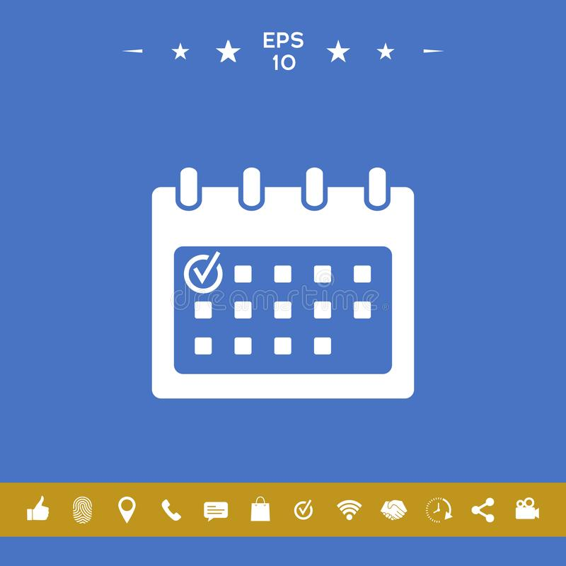 Kalendarzowa ikona z czek oceną ilustracji
