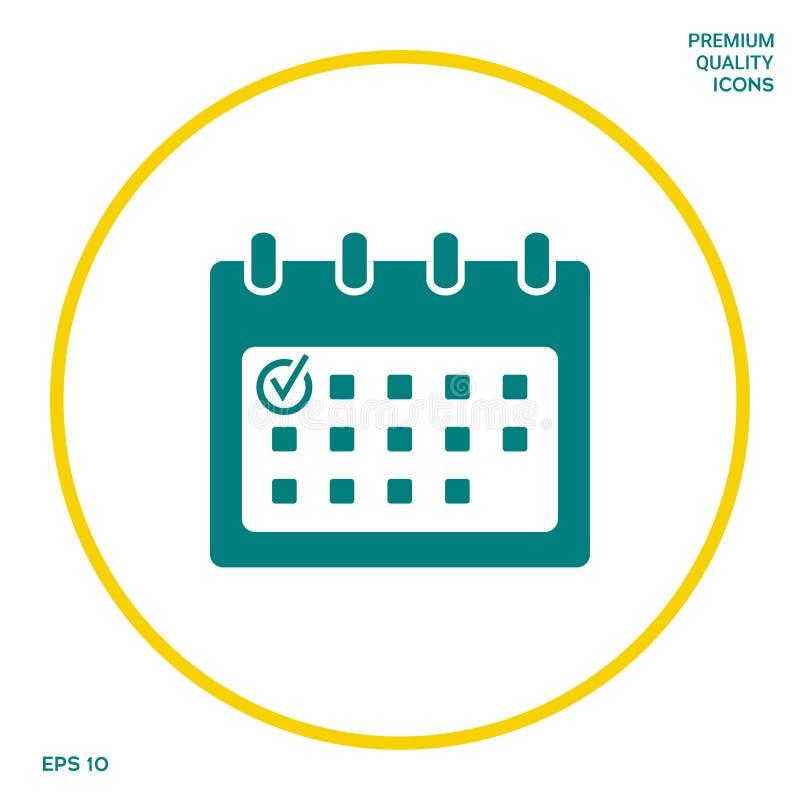 Kalendarzowa ikona z czek oceną Graficzni elementy dla twój projekta royalty ilustracja