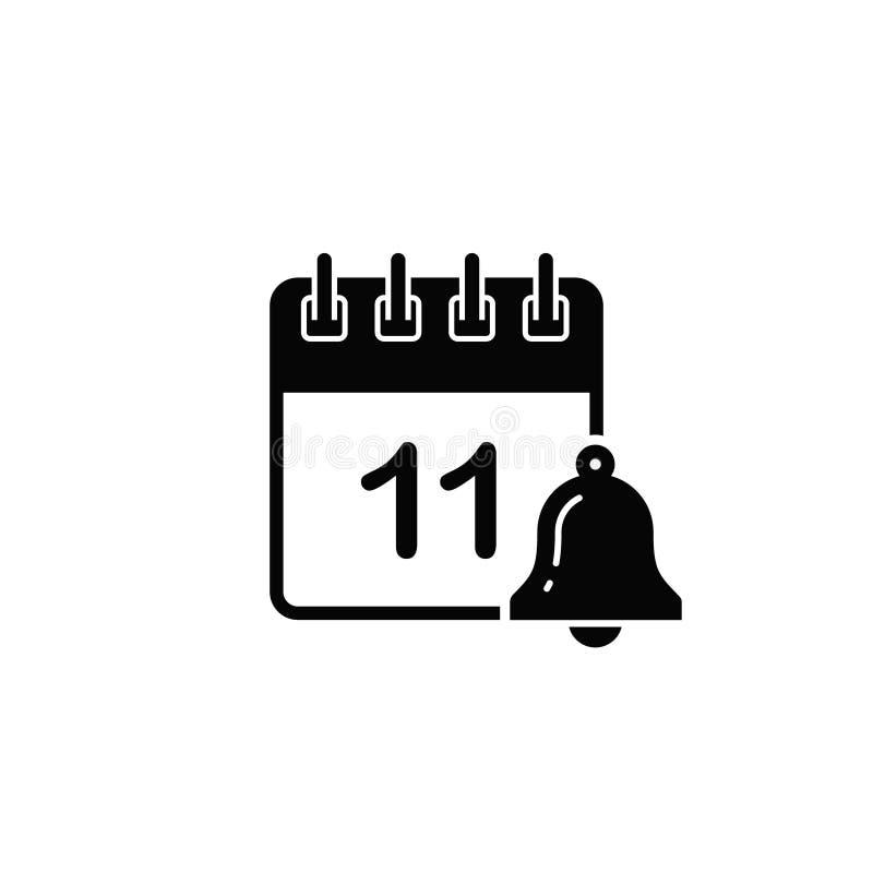 Kalendarzowa ikona z dzwonkowym symbolu przypomnieniem Wektor odosobniona płaska ilustracja zdjęcia stock