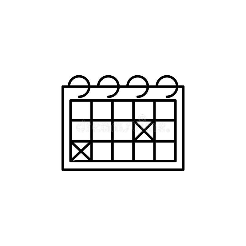 Kalendarzowa kontur ikona Element styl życia ilustracji ikona Premii ilo?ci graficzny projekt Znaki i symbol kolekci ikona ilustracja wektor