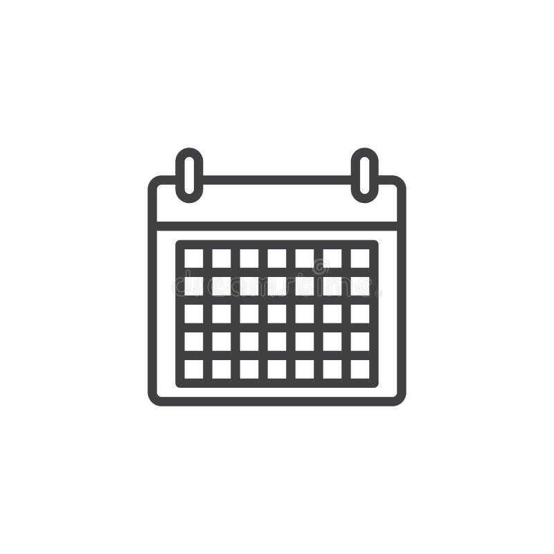 Kalendarzowa Kreskowa ikona ilustracja wektor
