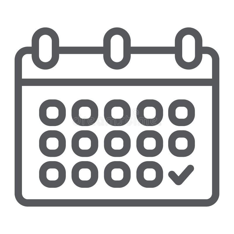 Kalendarzowa kreskowa ikona, data i rozkład, przypomnienie znak, wektorowe grafika, liniowy wzór na białym tle royalty ilustracja