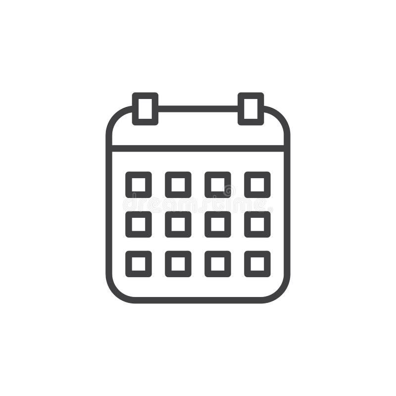 Kalendarzowa kreskowa ikona, konturu wektoru znak, liniowy stylowy piktogram odizolowywający na bielu royalty ilustracja