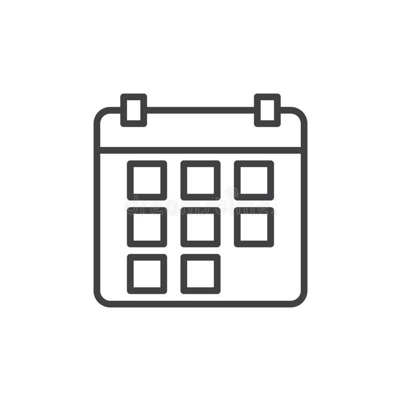 Kalendarzowa kreskowa ikona, konturu wektoru znak, liniowy stylowy piktogram odizolowywający na bielu ilustracja wektor