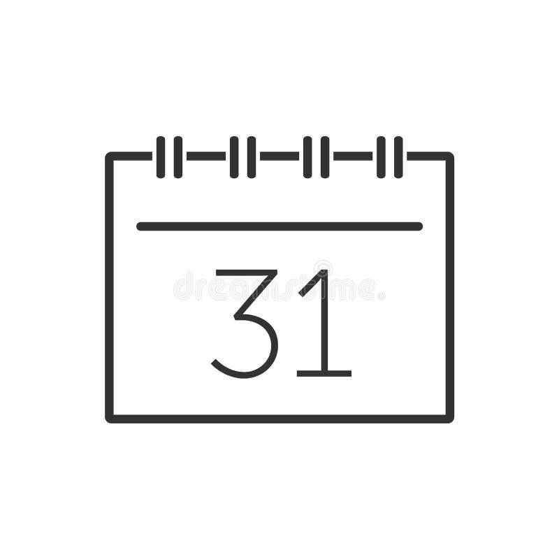 Kalendarzowa kreskowa ikona na białym tle ilustracji