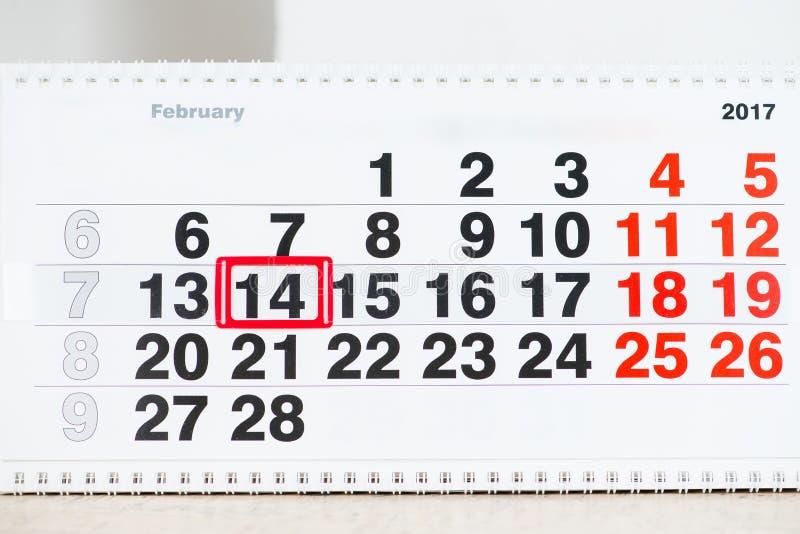 14 kalendarzowa Luty oceny czerwień to walentynki dni obraz stock