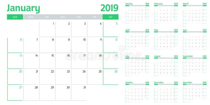 Kalendarzowa planisty szablonu wektoru 2019 ilustracja royalty ilustracja
