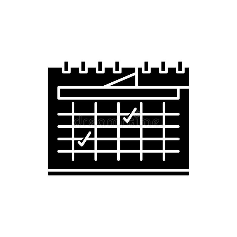 Kalendarzowa planistyczna czarna ikona, wektoru znak na odosobnionym tle Kalendarzowy planistyczny pojęcie symbol, ilustracja ilustracja wektor