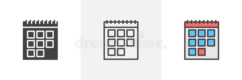Kalendarzowa rozkład ikona ilustracji