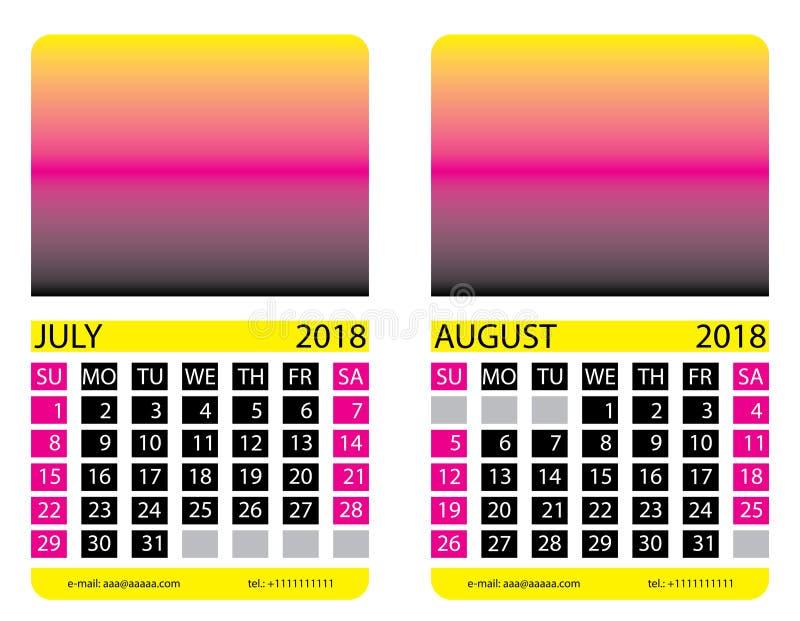 Kalendarzowa siatka bigos augusta ilustracja wektor