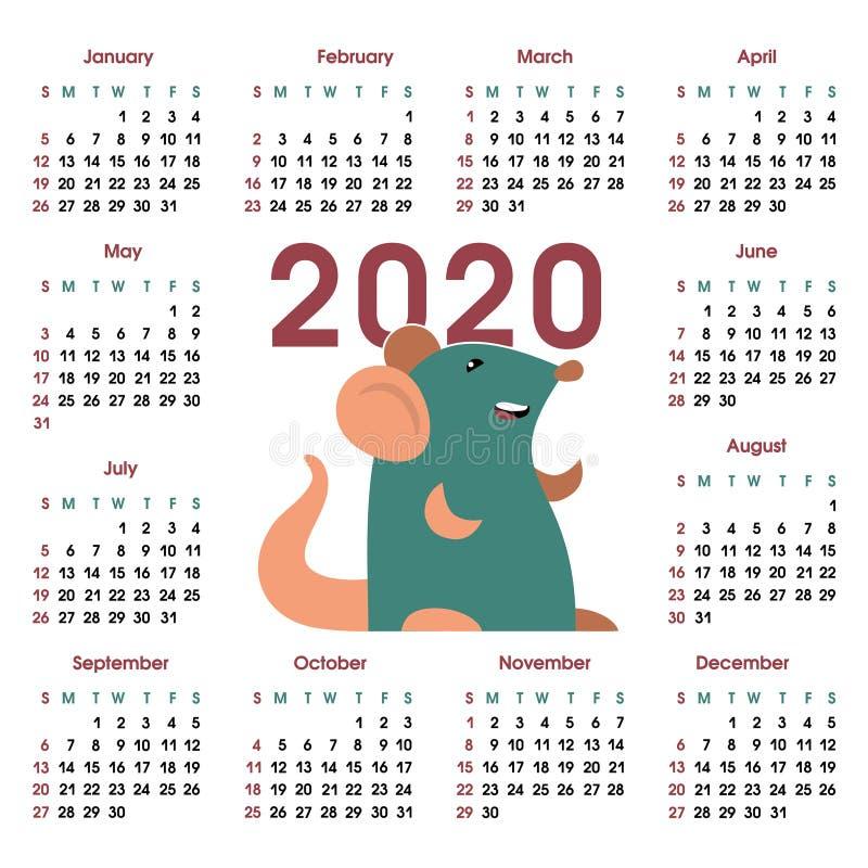 Kalendarzowa siatka 2020 z szczurem ilustracji