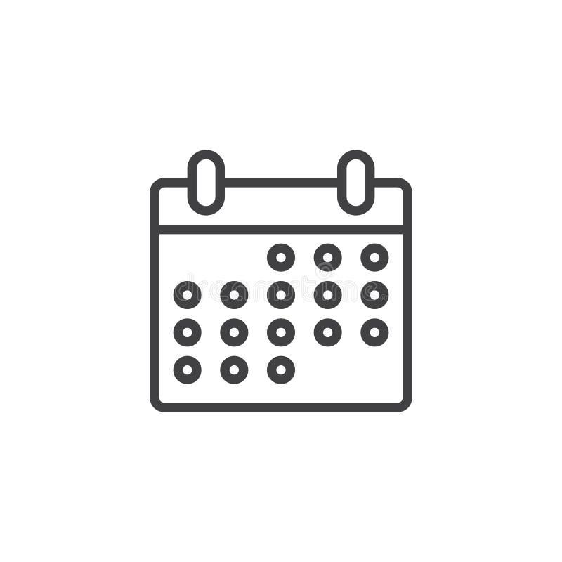 Kalendarzowa strona konturu ikona royalty ilustracja