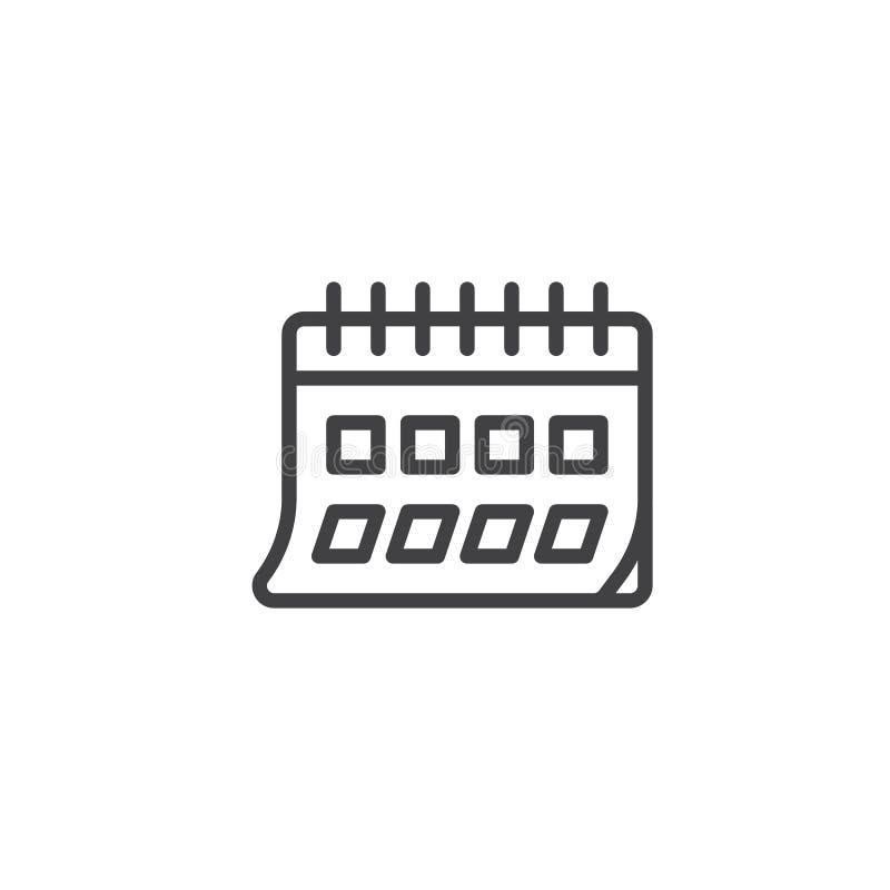 Kalendarzowa strony linii ikona ilustracja wektor