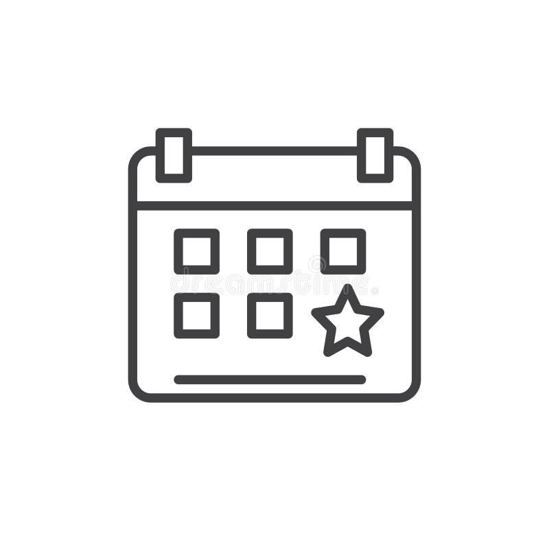Kalendarzowa wydarzenia przypomnienia linii ikona, konturu wektoru znak, liniowy stylowy piktogram odizolowywający na bielu royalty ilustracja