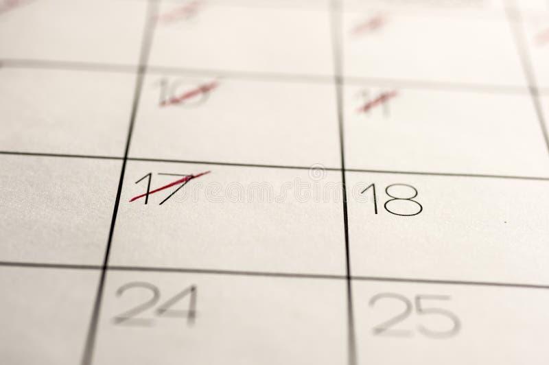 Kalendarzowe daty zaznaczać out fotografia stock