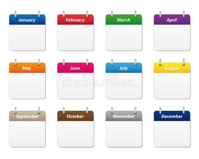 Kalendarzowe ikony ustawiać royalty ilustracja