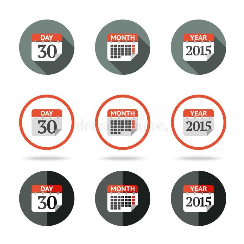 Kalendarzowe ikony ustawiają - rok, miesiąc, dzień dyferencja ilustracja wektor