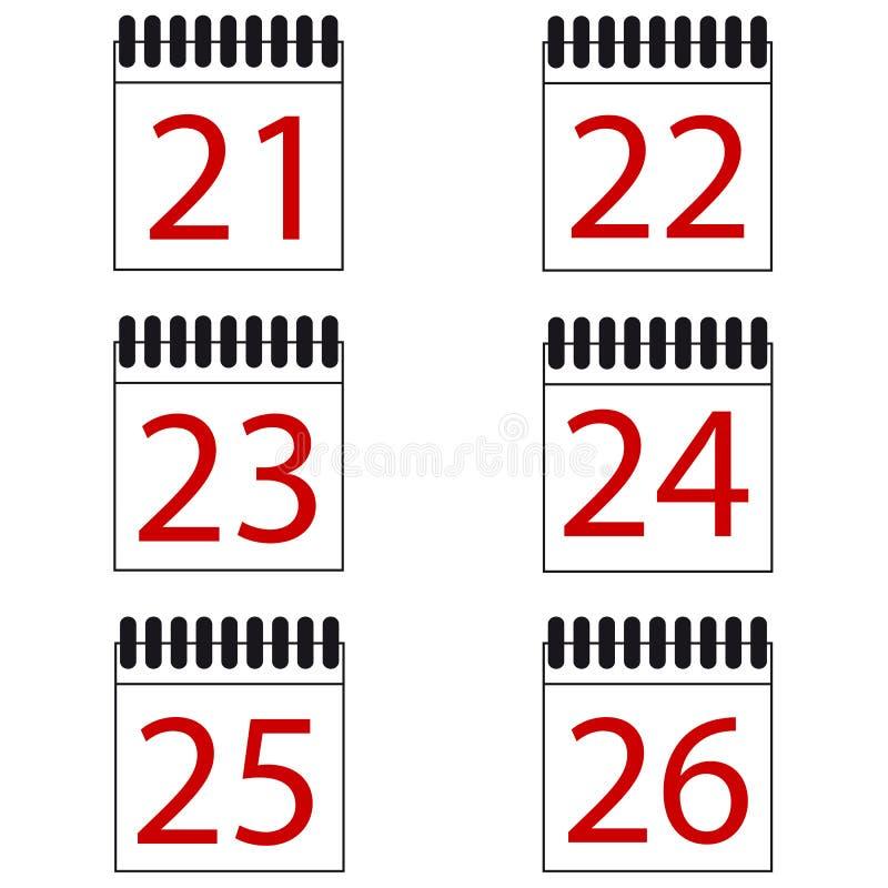 Kalendarzowe Numerowe Wektorowe ikony Ustawiać royalty ilustracja