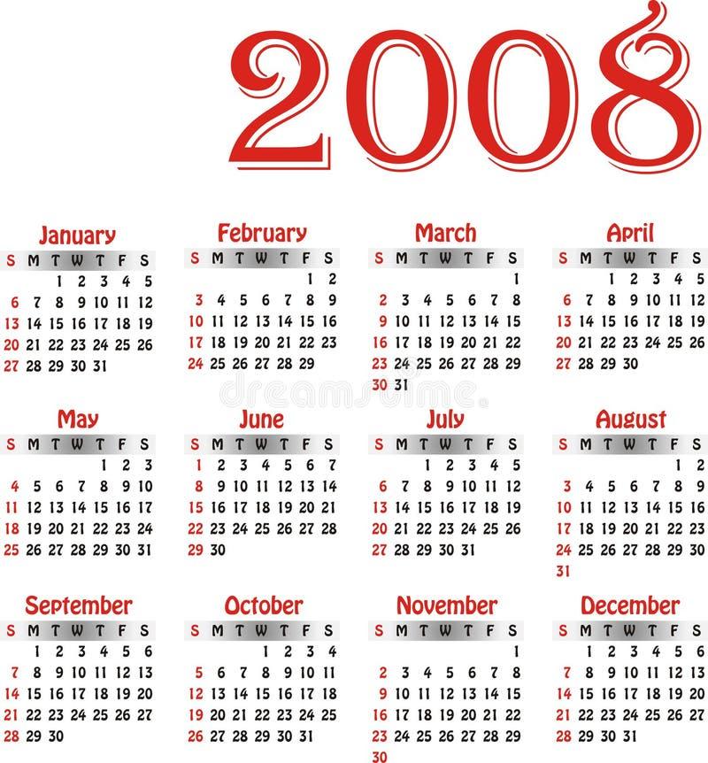 kalendarzowego 2008 wektora ilustracji