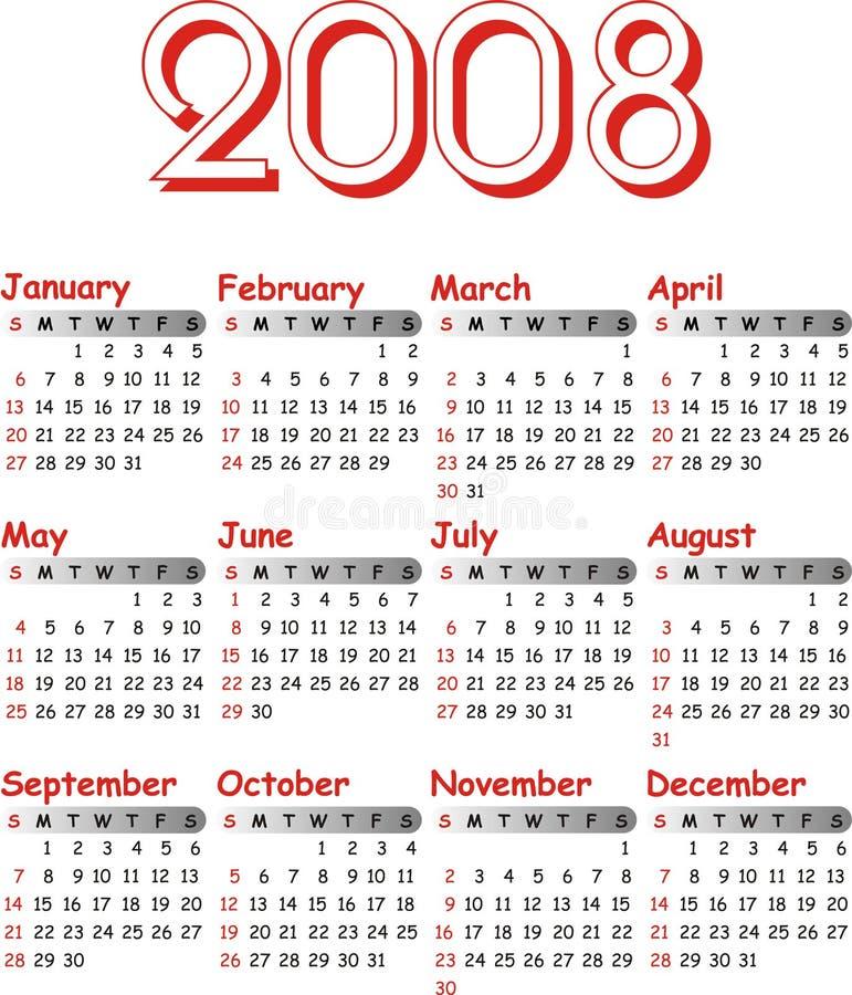 kalendarzowego 2008 wektora ilustracja wektor