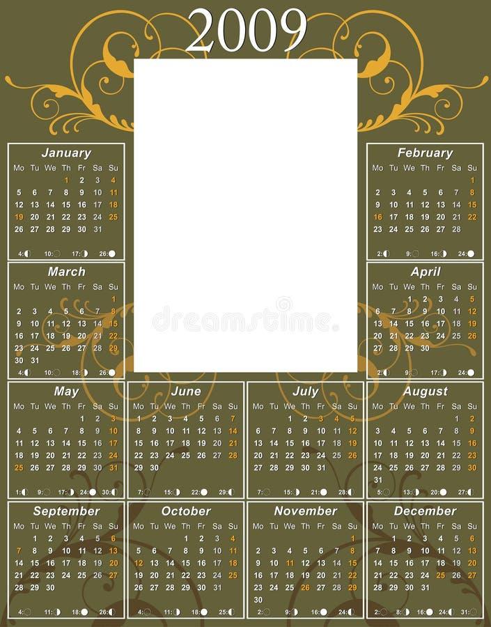 kalendarzowego 2009 kwiatek ilustracja wektor