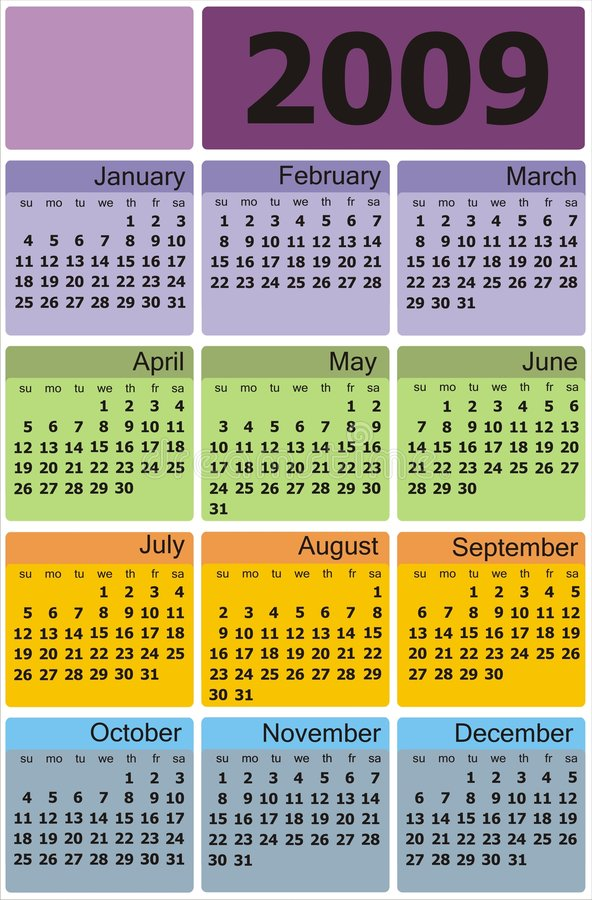 kalendarzowego 2009 olorful wektora royalty ilustracja