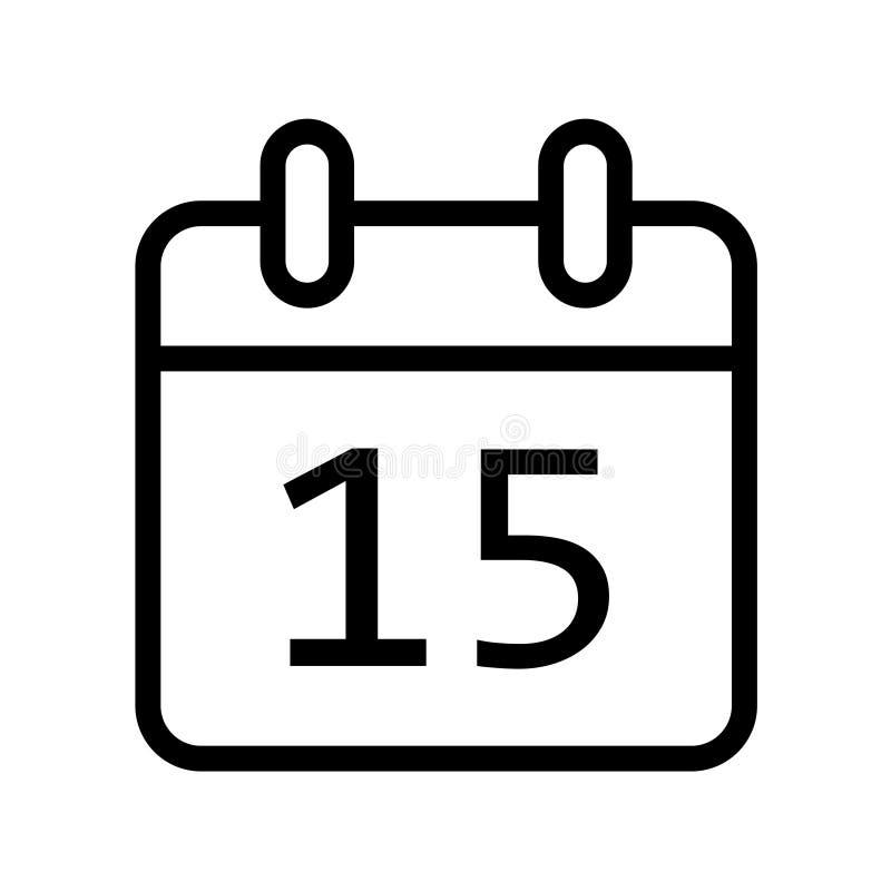 Kalendarzowego dnia piętnaście daktylowa ikona royalty ilustracja