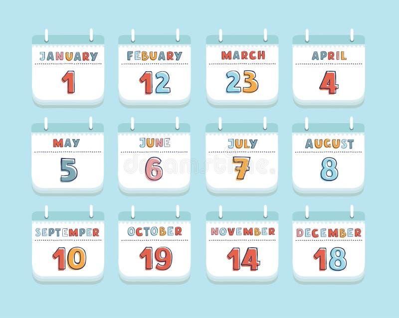Kalendarzowego Kwartalnego miesiąca bieżącego roku Ustalony materiały lub przypomnienie sieci projekta Nowożytny element również  ilustracja wektor