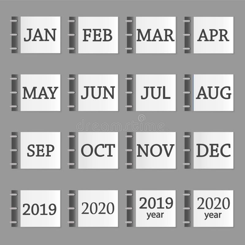 Kalendarzowego miesiąca ustalona ikona 2019 i 2020 rok na popielatym kolorze warstwa ilustracja wektor