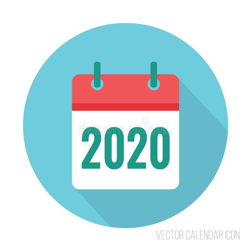 2020 kalendarzowej ikony płaski kolor Nowego roku wektoru znak royalty ilustracja