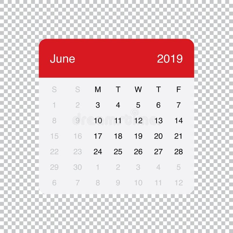 Kalendarzowi 2019 Czerwca Czysty Minimalny Stołowy Prosty projekt Na Poniedzia?ek tydzie? pocz?tek ilustracji