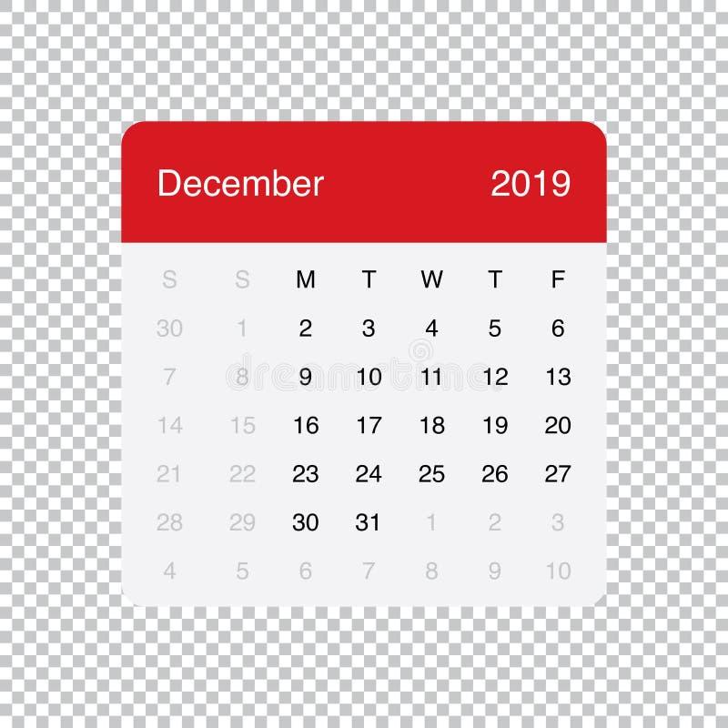 Kalendarzowi 2019 Grudnia Czysty Minimalny Stołowy Prosty projekt Na Poniedzia?ek tydzie? pocz?tek royalty ilustracja