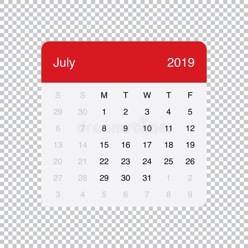 Kalendarzowi 2019 Lipa Czysty Minimalny Stołowy Prosty projekt Na Poniedzia?ek tydzie? pocz?tek ilustracja wektor