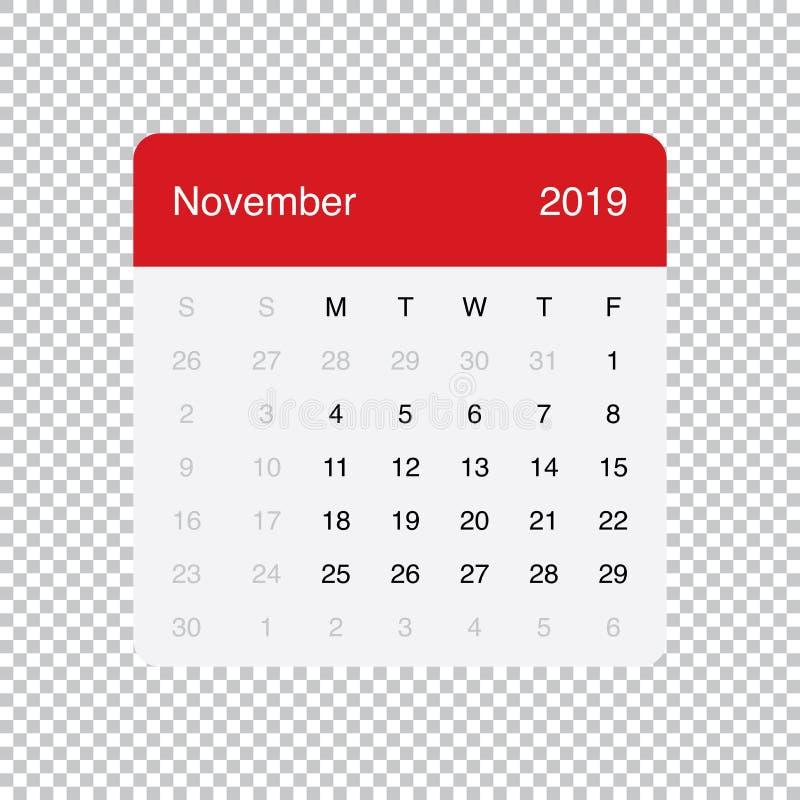 Kalendarzowi 2019 Listopadu Czysty Minimalny Stołowy Prosty projekt Na Poniedzia?ek tydzie? pocz?tek royalty ilustracja