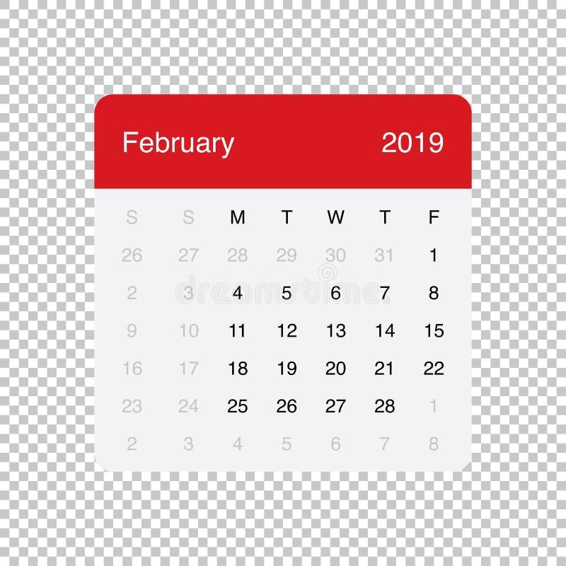 Kalendarzowi 2019 Luty Czysty Minimalny Stołowy Prosty projekt Na Poniedzia?ek tydzie? pocz?tek ilustracja wektor