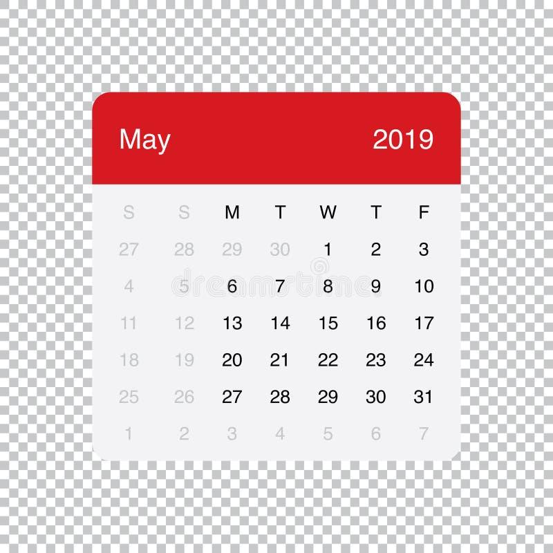 Kalendarzowi 2019 Maja Czysty Minimalny Stołowy Prosty projekt Na Poniedzia?ek tydzie? pocz?tek ilustracja wektor