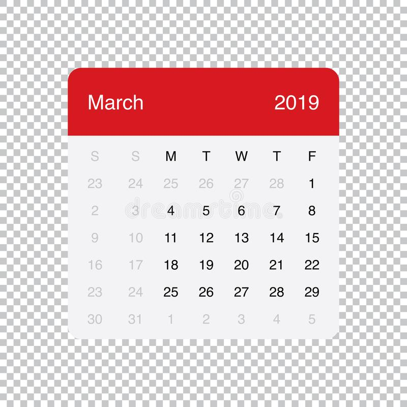 Kalendarzowi 2019 Marzec Czysty Minimalny Stołowy Prosty projekt Na Poniedzia?ek tydzie? pocz?tek ilustracji
