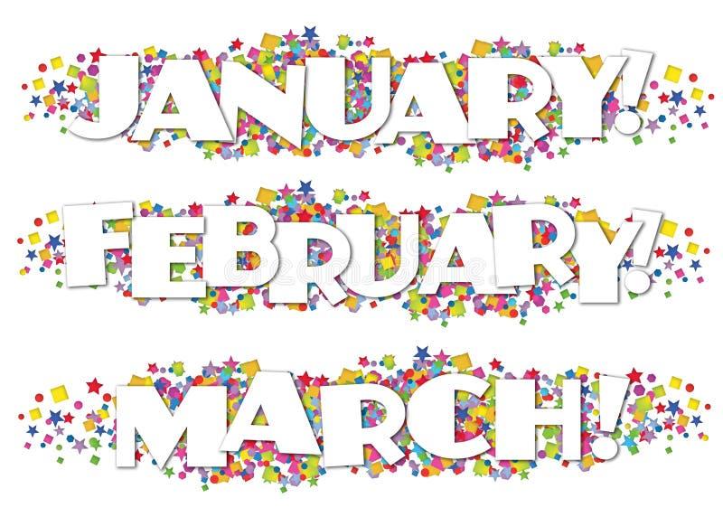 Kalendarzowi miesiące gazetki Dekoracyjny Styczeń Luty Marzec royalty ilustracja