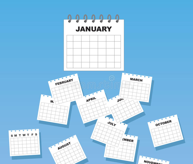 Kalendarzowi miesiące Spadać ilustracja wektor