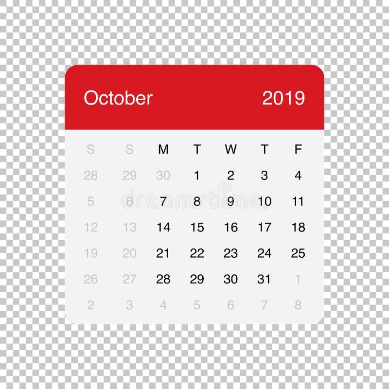Kalendarzowi 2019 Października Czysty Minimalny Stołowy Prosty projekt Na Poniedzia?ek tydzie? pocz?tek ilustracja wektor