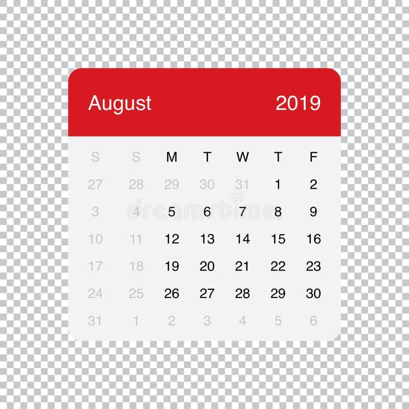 Kalendarzowi 2019 Sierpień Czysty Minimalny Stołowy Prosty projekt Na Poniedzia?ek tydzie? pocz?tek ilustracji
