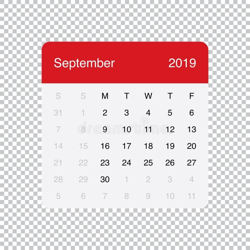 Kalendarzowi 2019 Września Czysty Minimalny Stołowy Prosty projekt Na Poniedzia?ek tydzie? pocz?tek ilustracji
